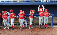 Members of a youth baseball team wait for the start of a game between the Salem Red Sox and the Winston-Salem Dash on June 6, 2012, at LewisGale Field in Salem, Virginia. Salem won 4-1. (Tom Priddy/Four Seam Images)
