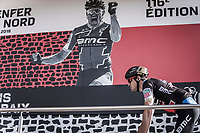 Last years winner Greg Van Avermaet (BEL/BMC) confronted with himself on the sign-on podium<br /> <br /> 116th Paris-Roubaix (1.UWT)<br /> 1 Day Race. Compiègne - Roubaix (257km)