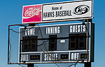 BEACON FALLS, CT 050621JS03—The baseball scoreboard at Woodland Regional High School. <br /> Jim Shannon Republican American