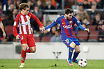 FC Barcelona's Leo Messi (r) and Atletico de Madrid's Antoine Griezmann during Spanish Kings Cup semifinal 2nd leg match. February 07,2017. (ALTERPHOTOS/Acero)
