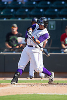 Omar Narvaez (21) of the Winston-Salem Dash makes contact with the baseball during the game against the Wilmington Blue Rocks at BB&T Ballpark on July 6, 2014 in Winston-Salem, North Carolina.  The Dash defeated the Blue Rocks 7-1.   (Brian Westerholt/Four Seam Images)