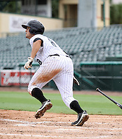 GCL Marlins first baseman Ryan Rieger #8 at bat during game three of the GCL Championship Series against the GCL Yankees at Roger Dean Stadium on August 31, 2011 in Jupiter, Florida.  GCL Yankees defeated the GCL Marlins 3-1 to capture the league championship.  (Stacy Grant/Four Seam Images)