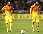 FC Barcelona's Dani Alves (l) and Cesc Fabregas during Spanish King's Cup match.October 30,2012. (ALTERPHOTOS/Acero)