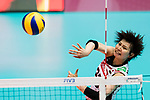 Wing spiker Rika Nomoto of Japan spikes the ball during the FIVB Volleyball World Grand Prix match between China vs Japan on July 21, 2017 in Hong Kong, China. Photo by Marcio Rodrigo Machado / Power Sport Images