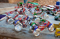 Cuba, Trinidad.  Toy Cars, Motorcycles, made out of Old Soft Drink Cans.