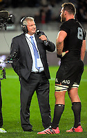 Skysport's Ian Smith talks to Kieran Read after the Steinlager Series All Blacks rugby match between the New Zealand All Blacks and Wales at Eden Park, Auckland, New Zealand on Saturday, 11 June 2016. Photo: Dave Lintott / lintottphoto.co.nz