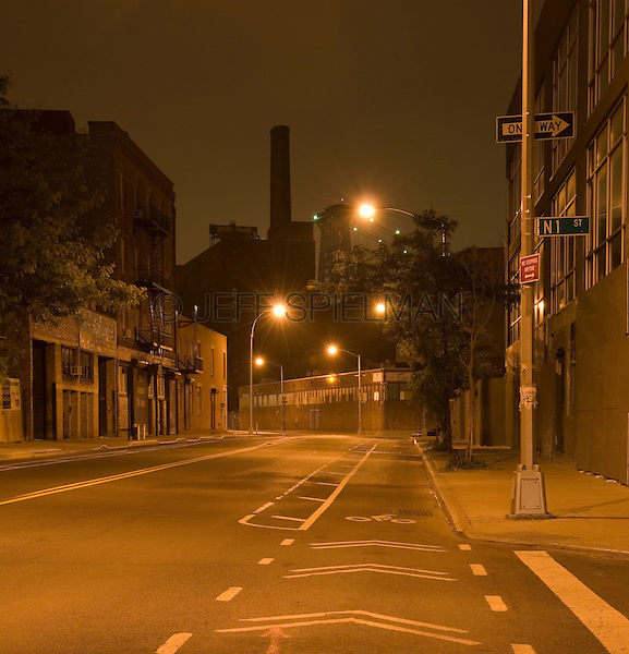AVAILABLE FROM JEFF AS A FINE ART PRINT.<br /> <br /> AVAILABLE FOR COMMERCIAL AND EDITORIAL LICENSING FROM PLAINPICTURE.  Please go to www.plainpicture.com and search for image # p5690132.<br /> <br /> Street at Night - The Williamsburg section of Brooklyn, New York City, New York State, USA