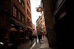 La Rue Saint-Jean, a pedestrian street in Vieux Lyon, France, 14 January 2012