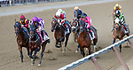 Mendelssohn leads first time by Catholic Boy (no. 11) wins the Travers Stakes (Grade 1), Aug. 25, 2018 at the Saratoga Race Course, Saratoga Springs, NY.  Ridden by  Javier Castellano, and trained by Jonathan Thomas, Catholic Boy finished 4 lengths in front of Mendelssohn (No. 8).  (Bruce Dudek/Eclipse Sportswire)