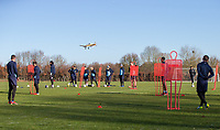 General view as plane flies past during the Wycombe Wanderers Training session at Wycombe Training Ground, High Wycombe, England on 17 January 2019. Photo by Andy Rowland.
