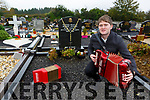 Bryan O'Leary at the grave of his grandfather the great Johnny O'Leary in Gneeveguilla on Saturday