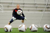 Goalkeeper Brad Guzan at the U. S. men's national team practice at Princeton University in Princeton, NJ, on May 19, 2010.