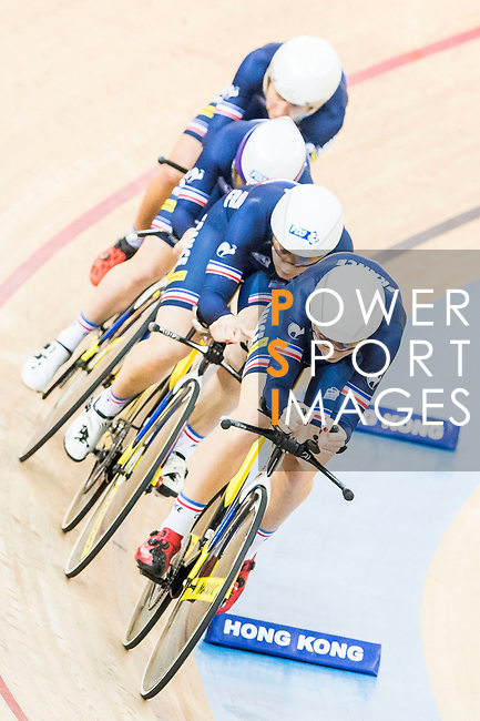 The team of France with Elise Delzenne, Laurie Berthon, Marion Borras and Coraline Demay competes in the Women's Team Pursuit - 1st Round as part of the 2017 UCI Track Cycling World Championships on 13 April 2017, in Hong Kong Velodrome, Hong Kong, China. Photo by Chris Wong / Power Sport Images