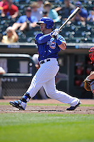 Iowa Cubs Matt Murton (25) swings during the Pacific Coast League game against the Memphis Redbirds at Principal Park on June 7, 2016 in Des Moines, Iowa.  Iowa won 6-5.  (Dennis Hubbard/Four Seam Images)