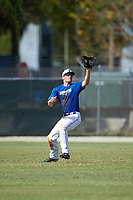 Illinois College Blueboys center fielder Austin Gusewelle (8) catches a fly ball during a game against the Edgewood Eagles on March 14, 2017 at Terry Park in Fort Myers, Florida.  Edgewood defeated Illinois College 11-2.  (Mike Janes/Four Seam Images)