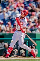 23 August 2018: Washington Nationals outfielder Bryce Harper in action against the Philadelphia Phillies at Nationals Park in Washington, DC. The Phillies shut out the Nationals 2-0 to take the 3rd game of their 3-game mid-week divisional series. Mandatory Credit: Ed Wolfstein Photo *** RAW (NEF) Image File Available ***