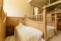 BNPS.co.uk (01202 558833)<br /> Pic: Strutt&Parker/Savills/BNPS<br /> <br /> RESUBMISSION: Please credit Strutt & Parker/Savills/BNPS.<br /> <br /> Pictured: One of the bedrooms.<br /> <br /> An impressive country estate that has hosted royalty and wartime evacuees has gone on the market for £8.65m.<br /> <br /> The Wilverley Estate was once home to the Honourable George Rose, who was paymaster general and known to have entertained King George III there.<br /> <br /> The 234-acre estate is on the edge of the New Forest, near Lyndhurst, Hants, and is up for sale for the first time in 74 years.