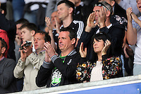 Swansea supporters during the Swansea City FC v Manchester City Premier League game at the Liberty Stadium, Swansea, Wales, UK, Sunday 15 May 2016