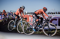 Ceylin Del Carmen Alvarado (NED) and Inge Van der Heijden (NED) cornering.<br /> <br /> Women U23 race.<br /> <br /> UCI 2019 Cyclocross World Championships<br /> Bogense / Denmark<br /> <br /> ©kramon