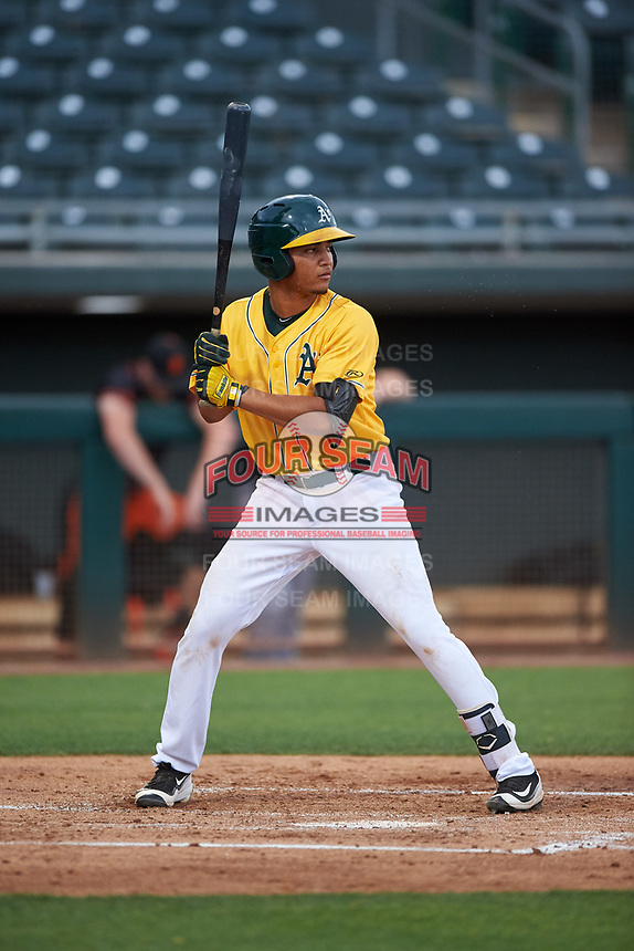 AZL Athletics Gold Christopher Quintin (2) at bat during an Arizona League game against the AZL Giants Black on July 12, 2019 at Hohokam Stadium in Mesa, Arizona. The AZL Giants Black defeated the AZL Athletics Gold 9-7. (Zachary Lucy/Four Seam Images)