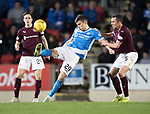 St Johnstone v Hearts…05.04.17     SPFL    McDiarmid Park<br />Graham Cummins fends off Don Cowie<br />Picture by Graeme Hart.<br />Copyright Perthshire Picture Agency<br />Tel: 01738 623350  Mobile: 07990 594431