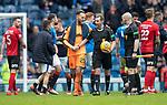 05.05.2018 Rangers v Kilmarnock: Jak Alnwick and referee Alan Muir
