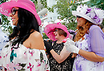 ARLINGTON HEIGHTS, IL - AUGUST 12: Women wait in line for the Best Dressed Competition on Arlington Million Day at Arlington Park on August 12, 2017 in Arlington Heights, Illinois. (Photo by Jon Durr/Eclipse Sportswire/Getty Images)