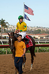 DEL MAR, CA  AUGUST 31:#1 Vasilika, ridden by Flavien Prat, returns to the connections after winning the John C. Mabee Stakes (Grade ll) on August 31, 2019 at Del Mar Thoroughbred Club in Del Mar, CA. ( Photo by Casey Phillips/Eclipse Sportswire/CSM)