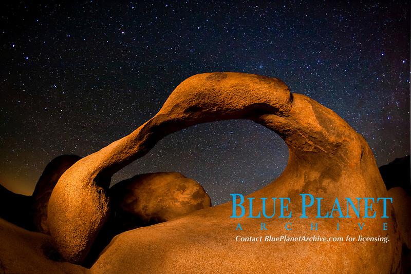 Mobius Arch and stars at night, Alabama Hills Recreation Area, Alabama Hills, California, USA