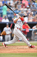 Lakewood BlueClaws center fielder Mickey Moniak (22) swings at a pitch during a game against the Beer City Tourists at McCormick Field on June 1, 2017 in Asheville, North Carolina. The Tourists defeated the BlueClaws 8-5. (Tony Farlow/Four Seam Images)