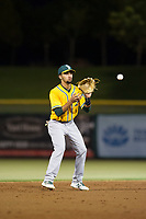 AZL Athletics shortstop Yerdel Vargas (5) on defense during a game against the AZL Giants on August 5, 2017 at Scottsdale Stadium in Scottsdale, Arizona. AZL Athletics defeated the AZL Giants 2-1. (Zachary Lucy/Four Seam Images)