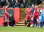 Aberdeen v St Johnstone…29.04.17     SPFL    Pittodrie<br />Ryan Christie and saints manager Tommy Wright exchange words<br />Picture by Graeme Hart.<br />Copyright Perthshire Picture Agency<br />Tel: 01738 623350  Mobile: 07990 594431