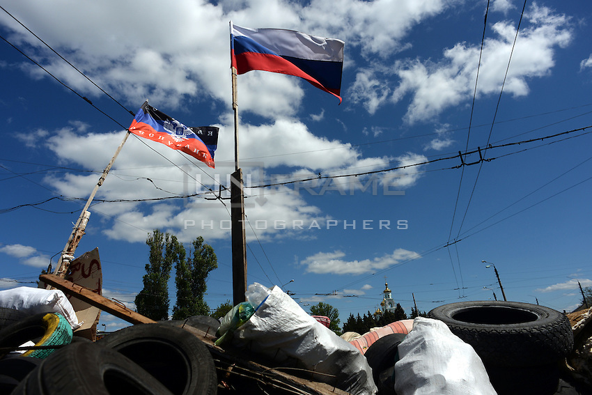Barricades have been raised up to defend Pro Russian outposts. Slavyansk,  Donetsk region.