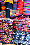 Colorful handmade, Mayan blankets for sale on the street in Antigua, Guatemala