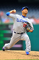 5 September 2011: Los Angeles Dodgers pitcher Hiroki Kuroda on the mound against the Washington Nationals at Nationals Park in Los Angeles, District of Columbia. The Nationals defeated the Dodgers 7-2 in the first game of their 4-game series. Mandatory Credit: Ed Wolfstein Photo
