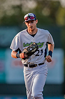 29 July 2018: Vermont Lake Monsters outfielder Devin Foyle trots back to the dugout during a game against the Batavia Muckdogs at Centennial Field in Burlington, Vermont. The Lake Monsters defeated the Muckdogs 4-1 in NY Penn League action. Mandatory Credit: Ed Wolfstein Photo *** RAW (NEF) Image File Available ***