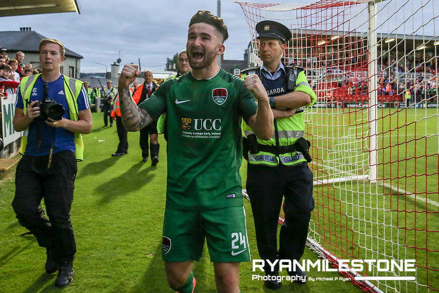 UEFA Europa League First Qualifying Round Second Leg, Cork City vs Levadia Tallinn,<br /> Thursday 6th July 2017,Turners Cross, Sean Maguire celebrates at the end of the game, Credit: Michael P Ryan
