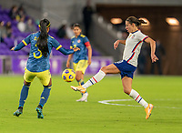 ORLANDO, FL - JANUARY 18: Carli Lloyd #10 of the USWNT controls the ball during a game between Colombia and USWNT at Exploria Stadium on January 18, 2021 in Orlando, Florida.