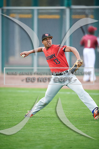 Carlos Tumpkin (13) of Brother Rice High School in Grosse Pointe Park, Michigan during the Under Armour All-American Pre-Season Tournament presented by Baseball Factory on January 14, 2017 at Sloan Park in Mesa, Arizona.  (Mike Janes/Mike Janes Photography)