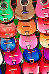 Colorful image of small guitars