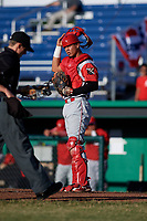 Williamsport Crosscutters catcher Nerluis Martinez (25) during a game against the Batavia Muckdogs on June 21, 2018 at Dwyer Stadium in Batavia, New York.  Batavia defeated Williamsport 6-5.  (Mike Janes/Four Seam Images)