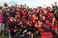Waikanae celebrates winning the Horowhenua-Kapiti premier club rugby final Ramsbottom Cup match between Paraparaumu and Waikanae at Levin Domain in Levin, New Zealand on Saturday, 22 July 2017. Photo: Dave Lintott / lintottphoto.co.nz
