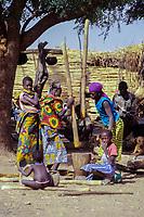 Djiliki, Niger.  Women Pounding Millet to Make Flour.