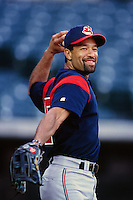 Dave Roberts of the Cleveland Indians during a game against the Anaheim Angels at Angel Stadium circa 1999 in Anaheim, California. (Larry Goren/Four Seam Images)