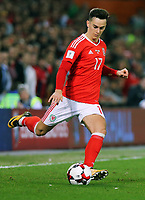 /17 crosses the ball during the FIFA World Cup Qualifier Group D match between Wales and Republic of Ireland at The Cardiff City Stadium, Wales, UK. Monday 09 October 2017