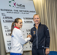 Bratislava, Slovenia, April 21, 2017,  FedCup: Slovakia-Netherlands, Draw ceremony, first match on Sunday: Cepelova vs Bertens (R)<br /> Photo: Tennisimages/Henk Koster
