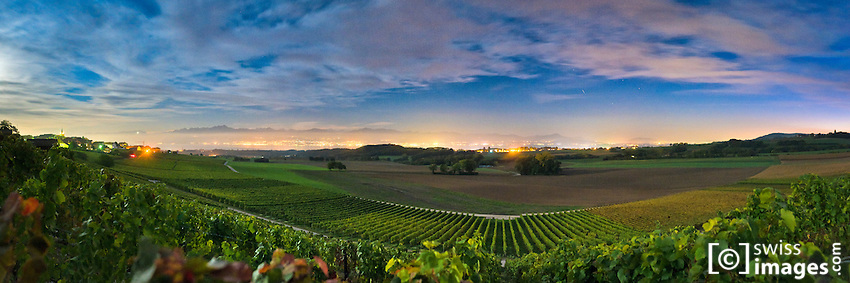 Night view on Yens' vineyards