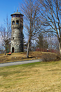 Weeks State Park - John Wingate Weeks Estate on the summit of Mt. Prospect in Lancaster, New Hampshire USA. The Mount Prospect Tower was built by John W. Weeks in 1912 and is still in operation today.