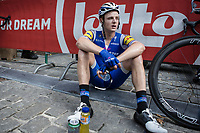 Petr Vakoc (CZE/Quick Step Floors) exhausted after finishing in Geraardsbergen. <br /> <br /> Binckbank Tour 2017 (UCI World Tour)<br /> Stage 7: Essen (BE) > Geraardsbergen (BE) 191km