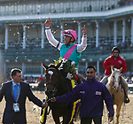 November 3, 2018: Frankie Dettori celebrates a win while riding Enable #2, in the Longines Breeders' Cup Turf on Breeders' Cup World Championship Saturday at Churchill Downs on November 3, 2018 in Louisville, Kentucky. Casey Phillips/Eclipse Sportswire/CSM